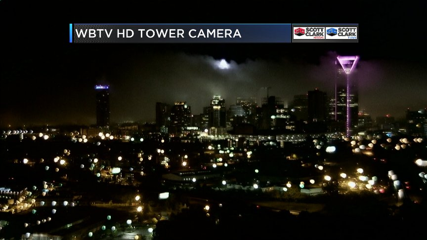 Low clouds after predawn rain over Center City Charlotte making for cool shot from @wbtv_news Tower Cam NCwx CLTwx