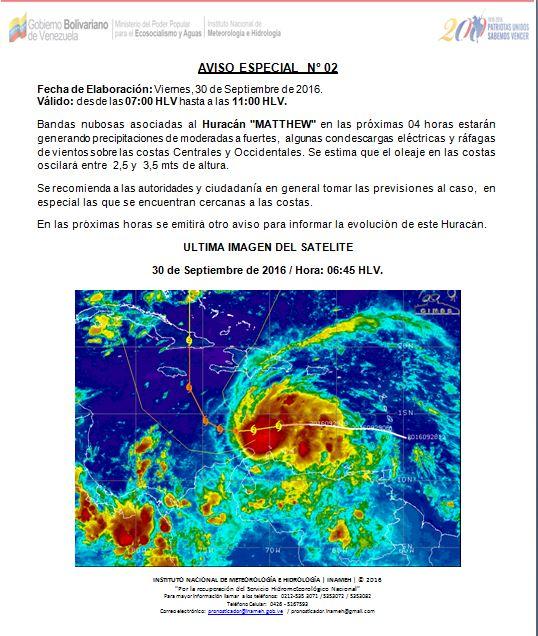 #Ahora #InamehInforma Aviso Especial Nº 02 viernes 30/09/2016 valido hasta las 11:00 HLV. https://t.co/zaTZ9dMaTP