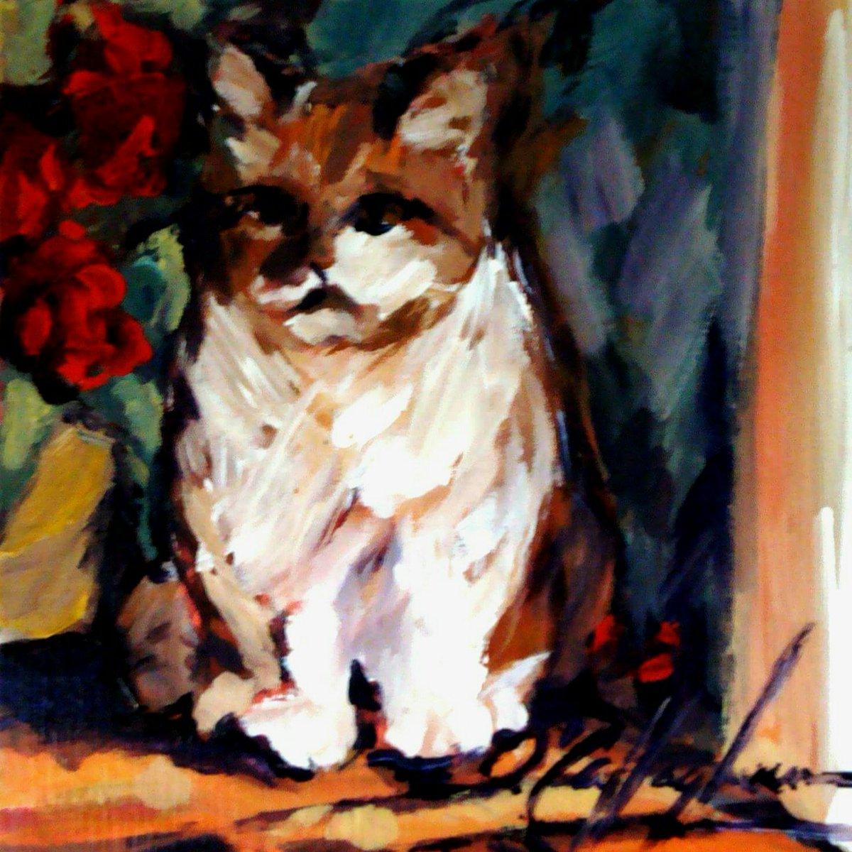 #portrait  of #buddythecat in a doorway #foreverfriends #artistsandtheircats <br>http://pic.twitter.com/05AIQp0qXW