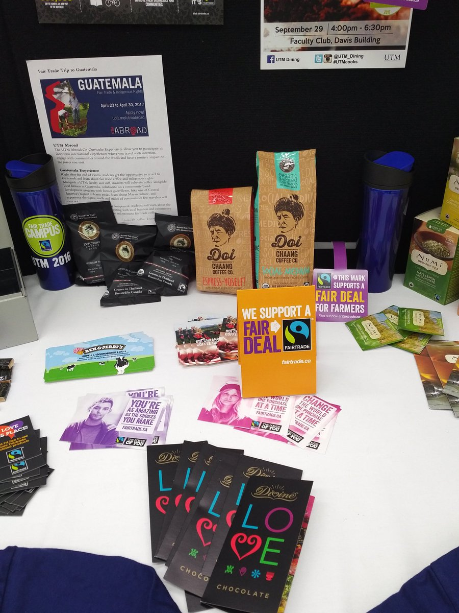 #fairtradecoffee  and other giveaways at the info booth table in TFC. Happening now. #UTM #FTCampus https://t.co/r5Q6NfGWjW