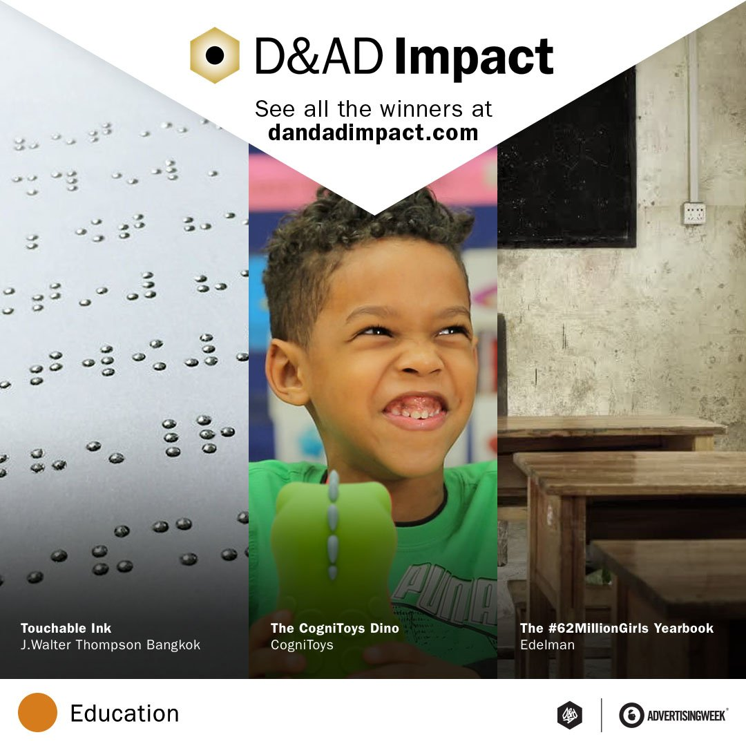 See the nine D&AD Impact-awarded projects that are shaking up the face of education: https://t.co/Nm4jSJlf95 https://t.co/GUwTP6d4SI