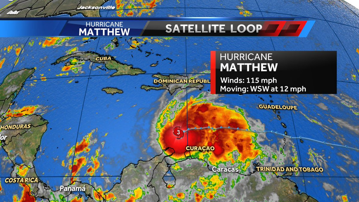 NEW: Hurricane Matthew now a major category-3 storm with winds of 115 mph. wcvb