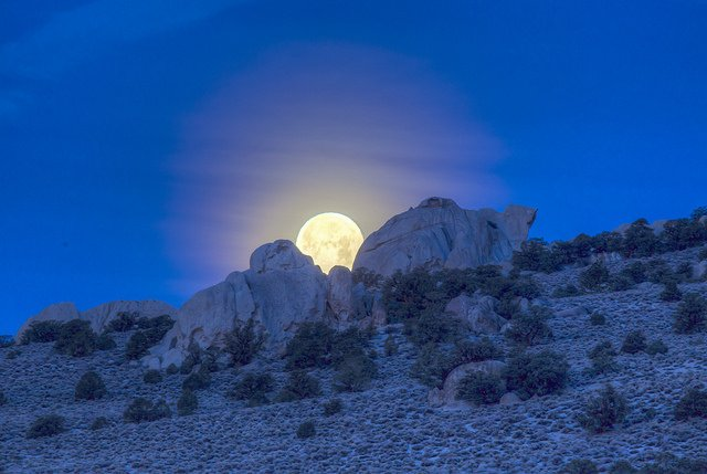 From BLM National's Twitter feed: A full moon 🌕 lights up the sky at Granite Mountain Wilderness, #California. (Photo: Bob Wick)