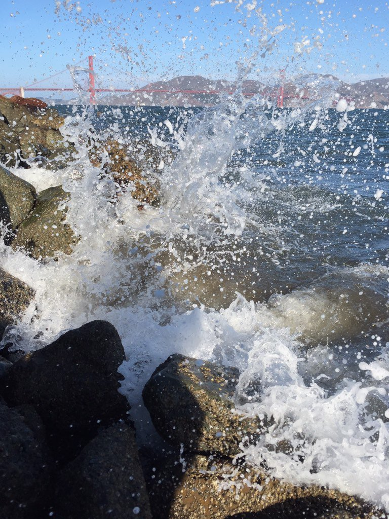 Friday morning splash taking a nice leap in front of the Golden Gate.