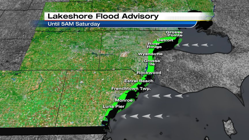 Lakeshore Flood Advisory issued for Wayne / Monroe Co. shoreline areas. East winds will cause minor flooding.