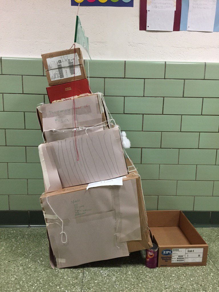 I love our 3rd grade version of the Leaning Tower of Pisa #cardboardchallenge #seamanstrength https://t.co/2aCD2Dn5BC