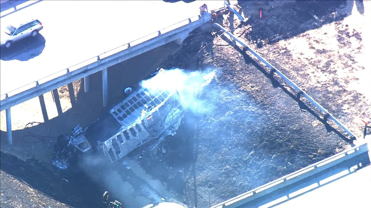 Overturned big rig catches fire in Tracy. Injury accident closes eastbound lanes of I-580