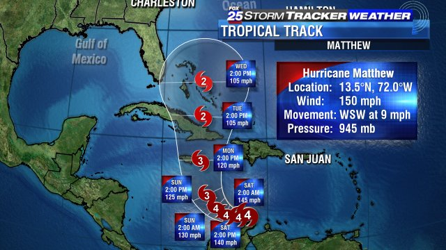 Up another 10mph in the last 3 hours. Nearing Cat 5 strength. Hurricane Matthew is a beast.