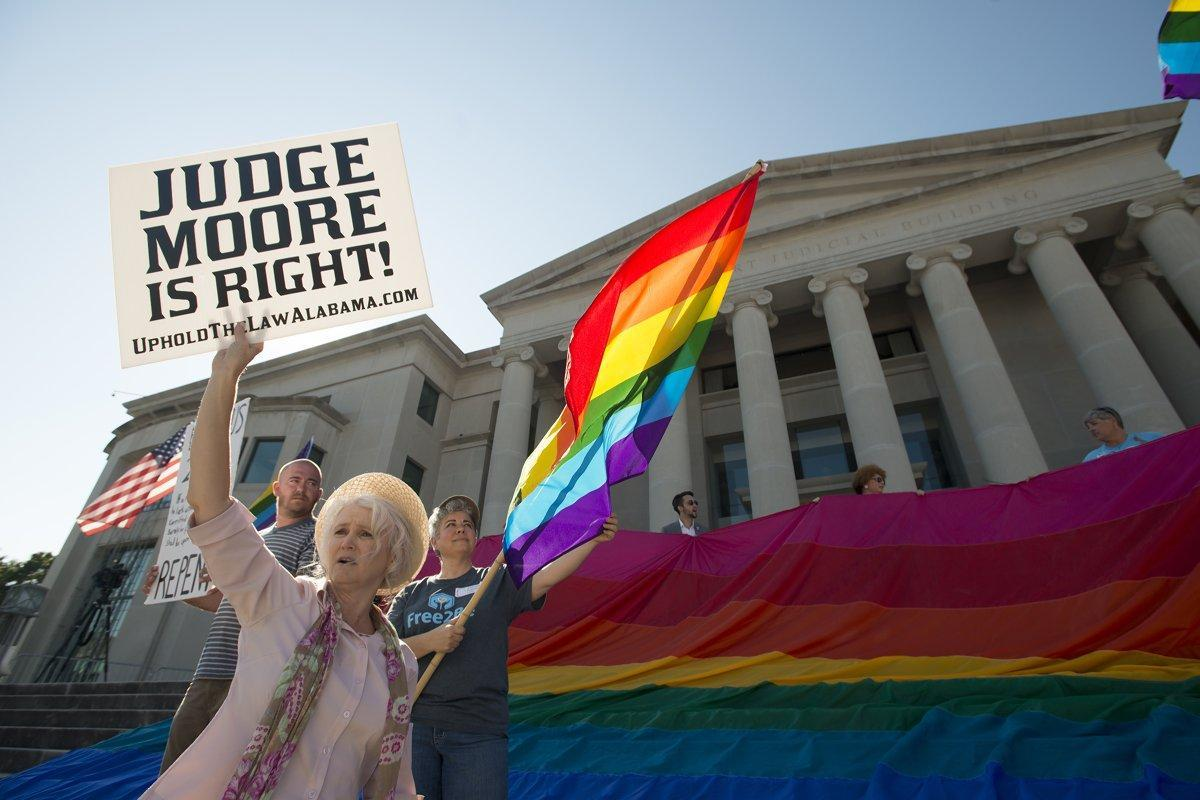 Alabama Chief Justice removed from bench for defying federal court's gay marriage ruling