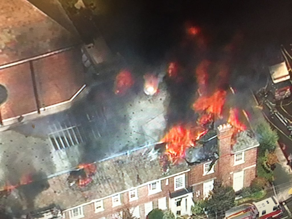 Fully-engulfed First Congregational Church in Berkeley. Channing and Dana.