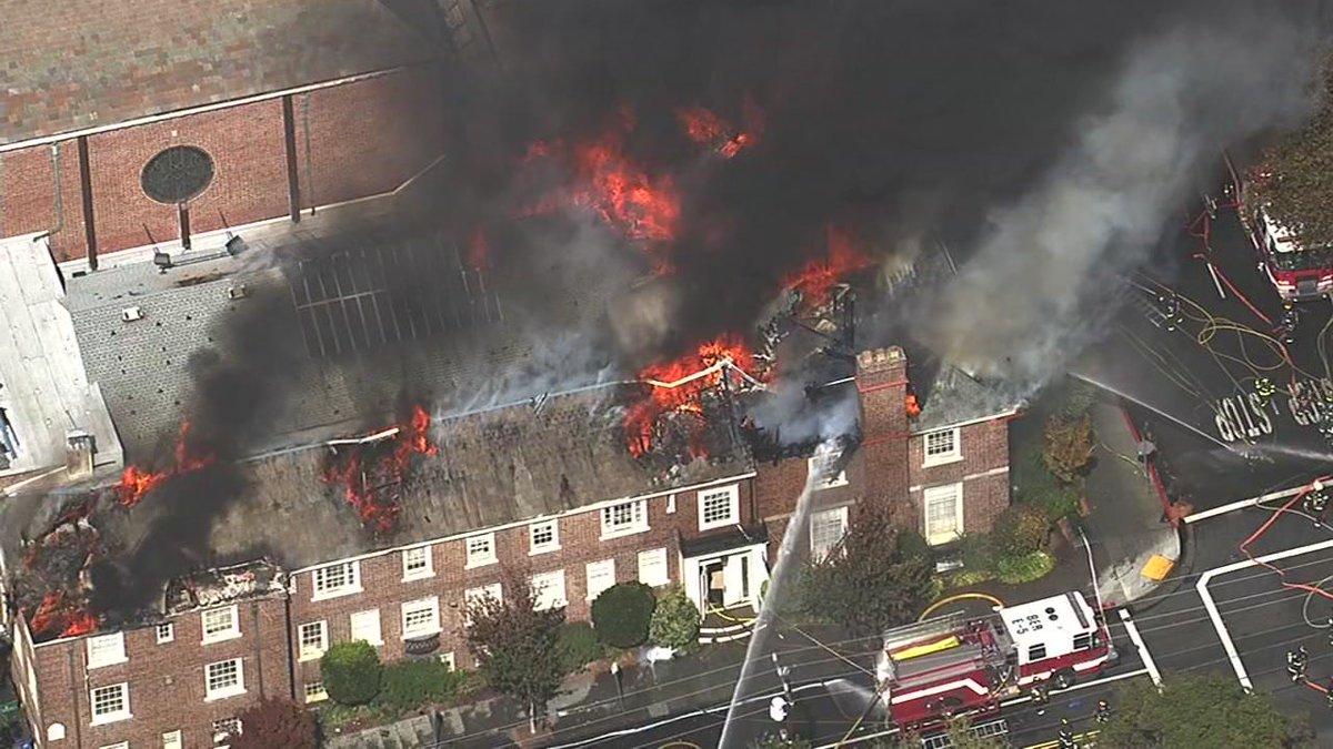 Smoke pluming into the air as crews battle 4-alarm fire at Berkeley church