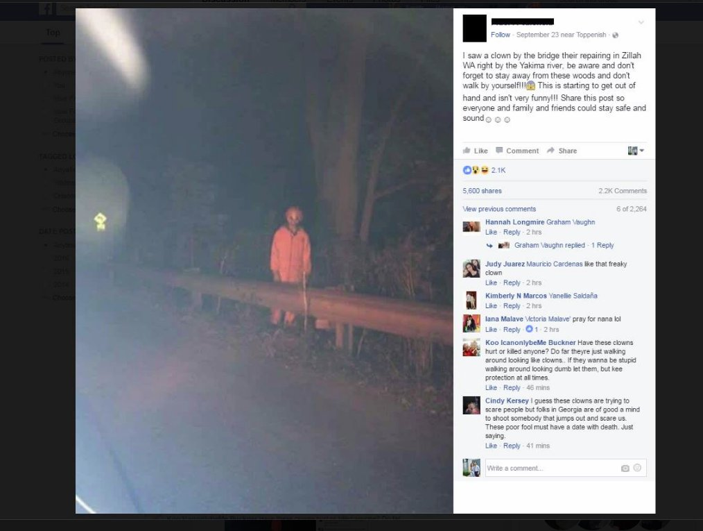 Facebook clown sighting in Yakima County likely a hoax, authorities say >>