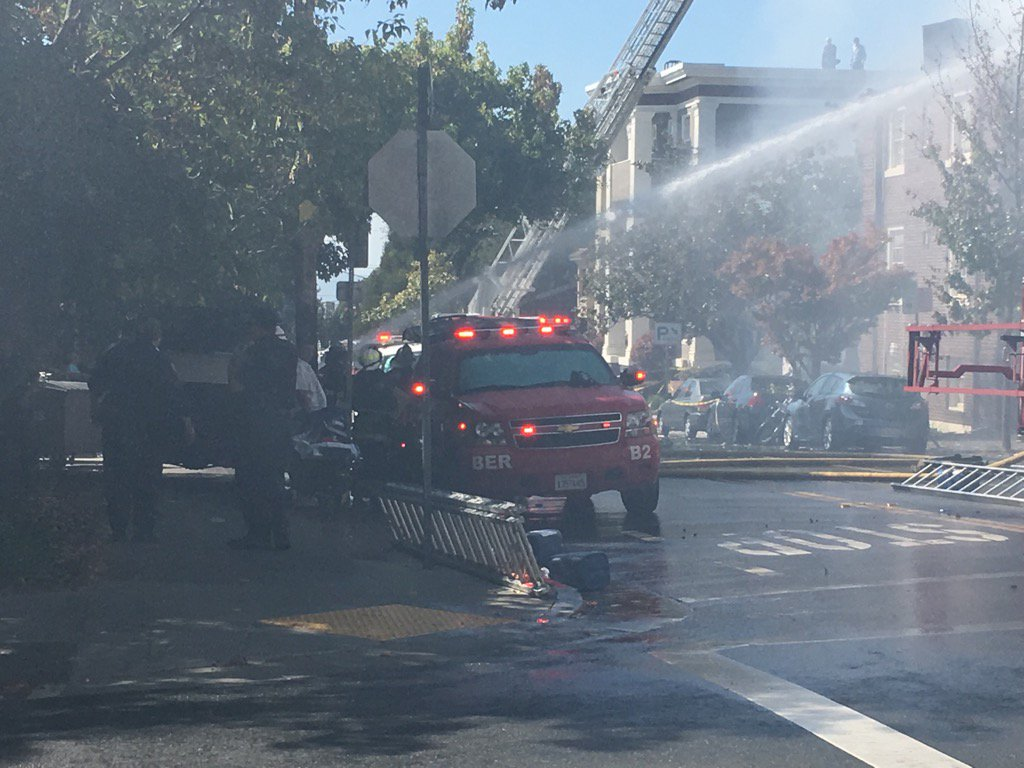 No reported injuries. 3 alarm fire. Main 3 story Church and exposure building affected. @KTVU