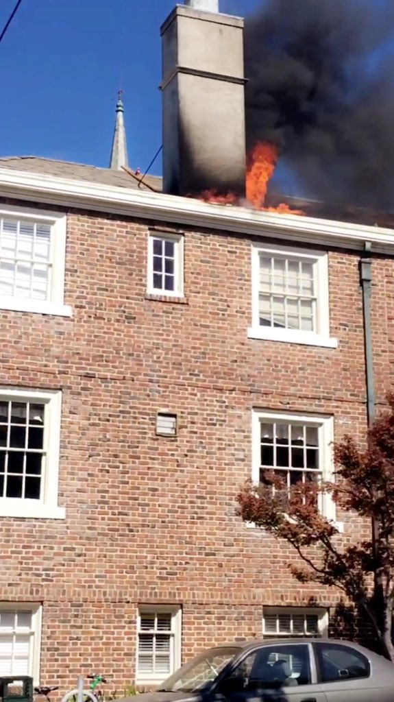 taken by Nicole Saweres shows first seconds when fire started at Berkeley's First Congregational Church.
