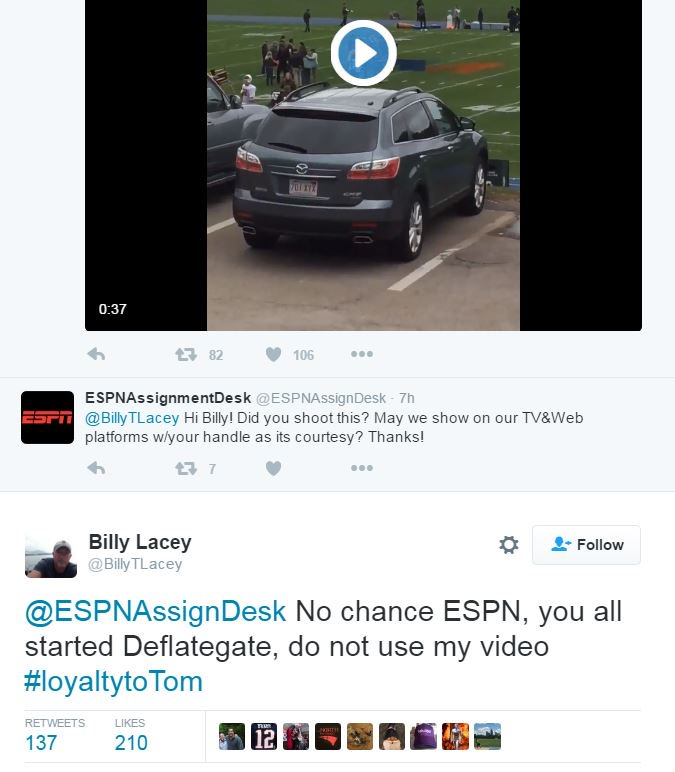 YES! Pats fan gets video of Tom Brady throwing and tells ESPN they can't use it! #Patriots ----> https://t.co/ONI4LtBmn7