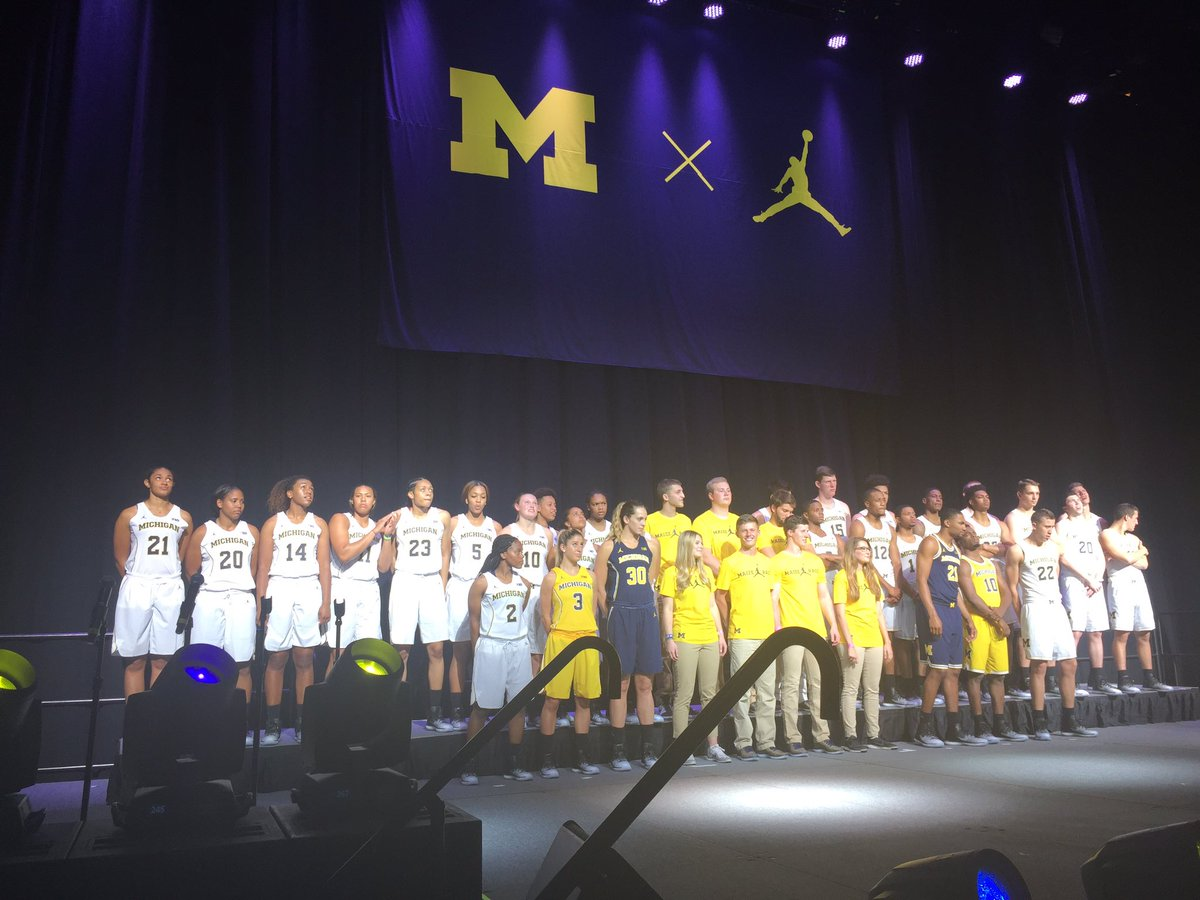 Here they are, the new @Jumpman23 @umichbball jerseys and Maize Rage shirts!
