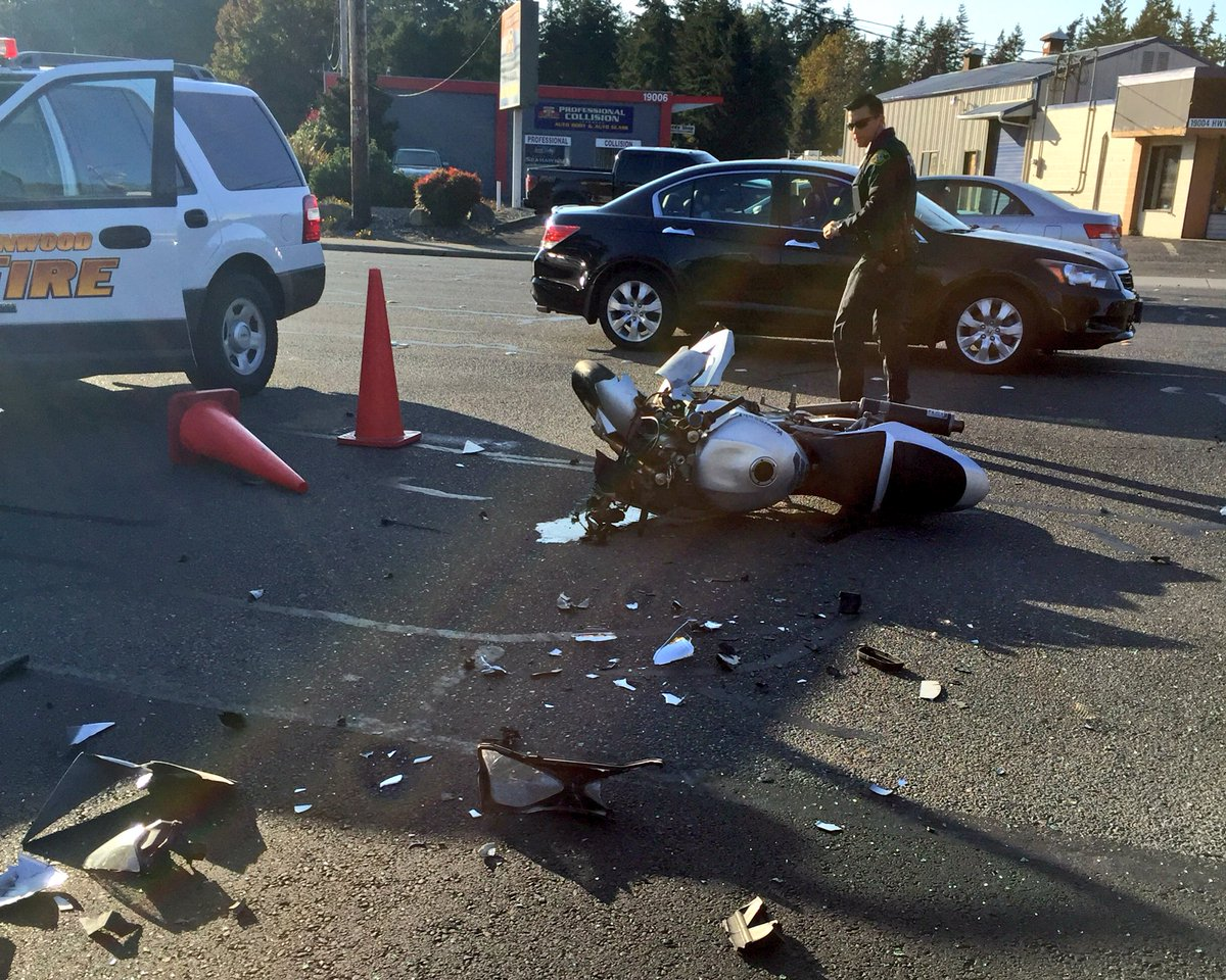 Car vs motorcycle 19000 blk Hwy 99, motorcyclist transported to Harborview with serious injuries