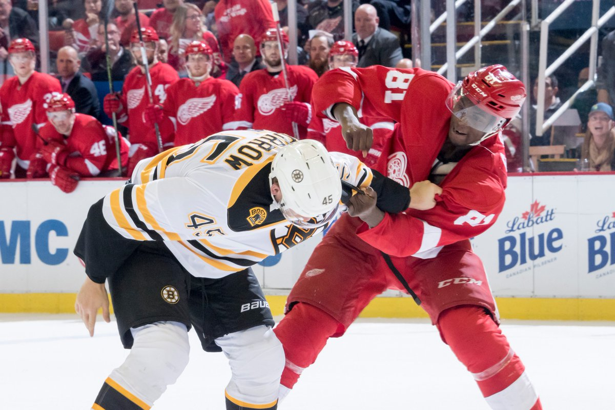 Red Wings lose in OT to the Bruins. Photo gallery