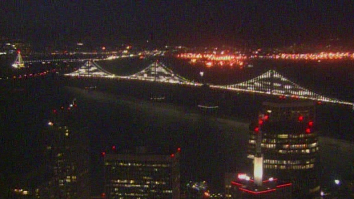 Bay Bridge lights Friday evening