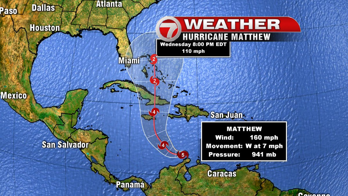 Wow! Hurricane Matthew now a Category 5! Massive storm. Latest forecast track from the NHC