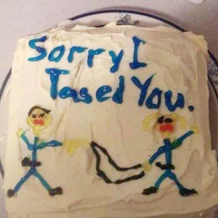 Story of cop who apologized with 'sorry I tased you' cake a hoax