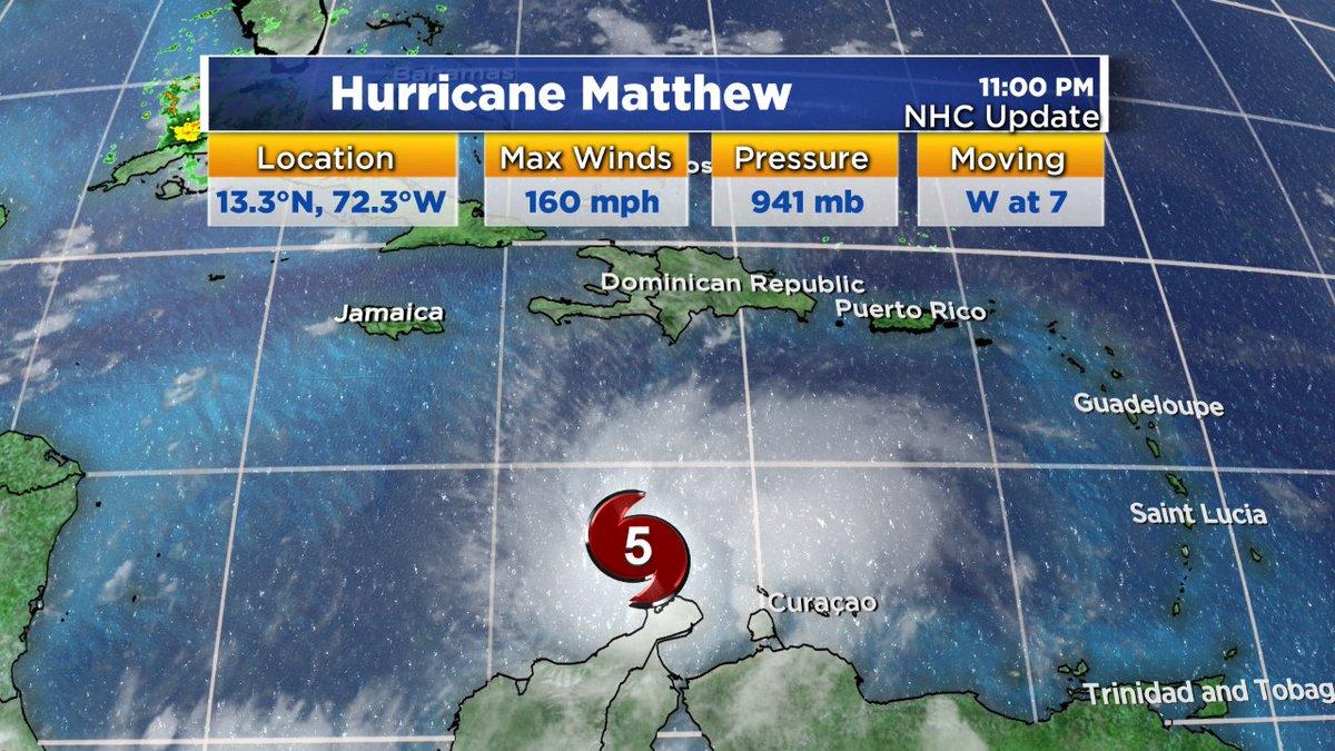 Hurricane Matthew now a category 5. Max wind speed 160mph. wbz