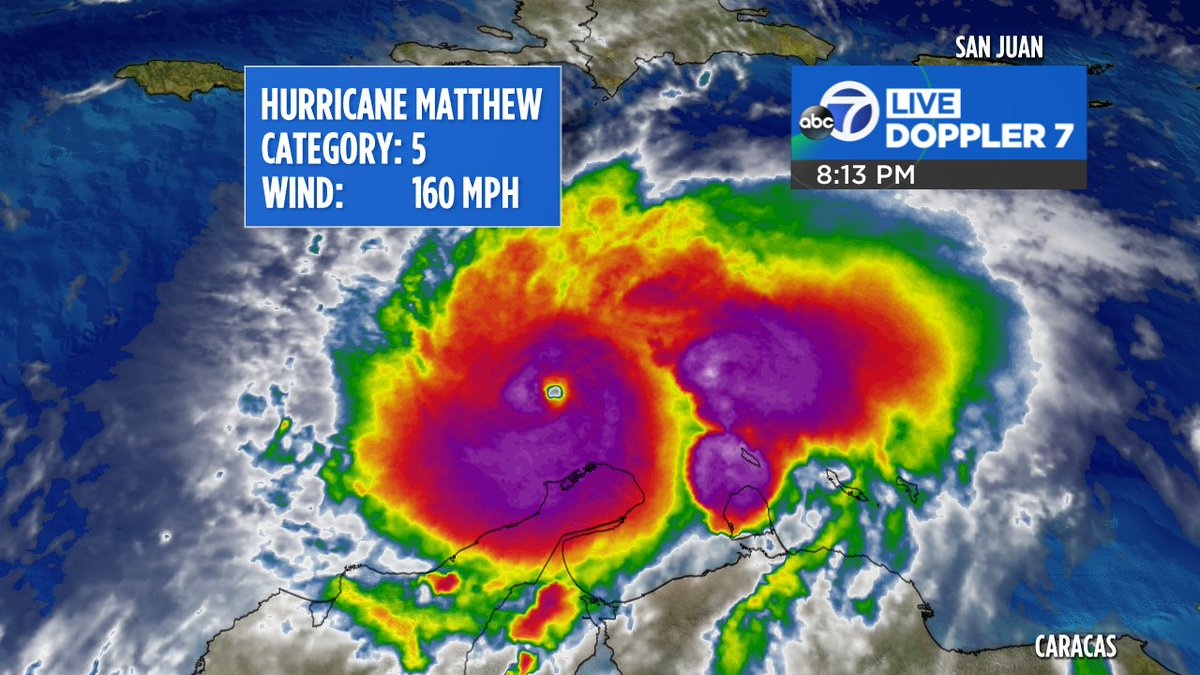 Category 5, the latest on Hurricane Matthew with winds of 160mph.