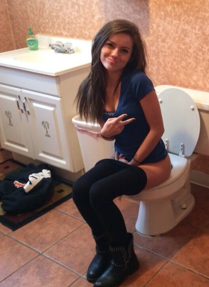toilet on peeing sitting Girl