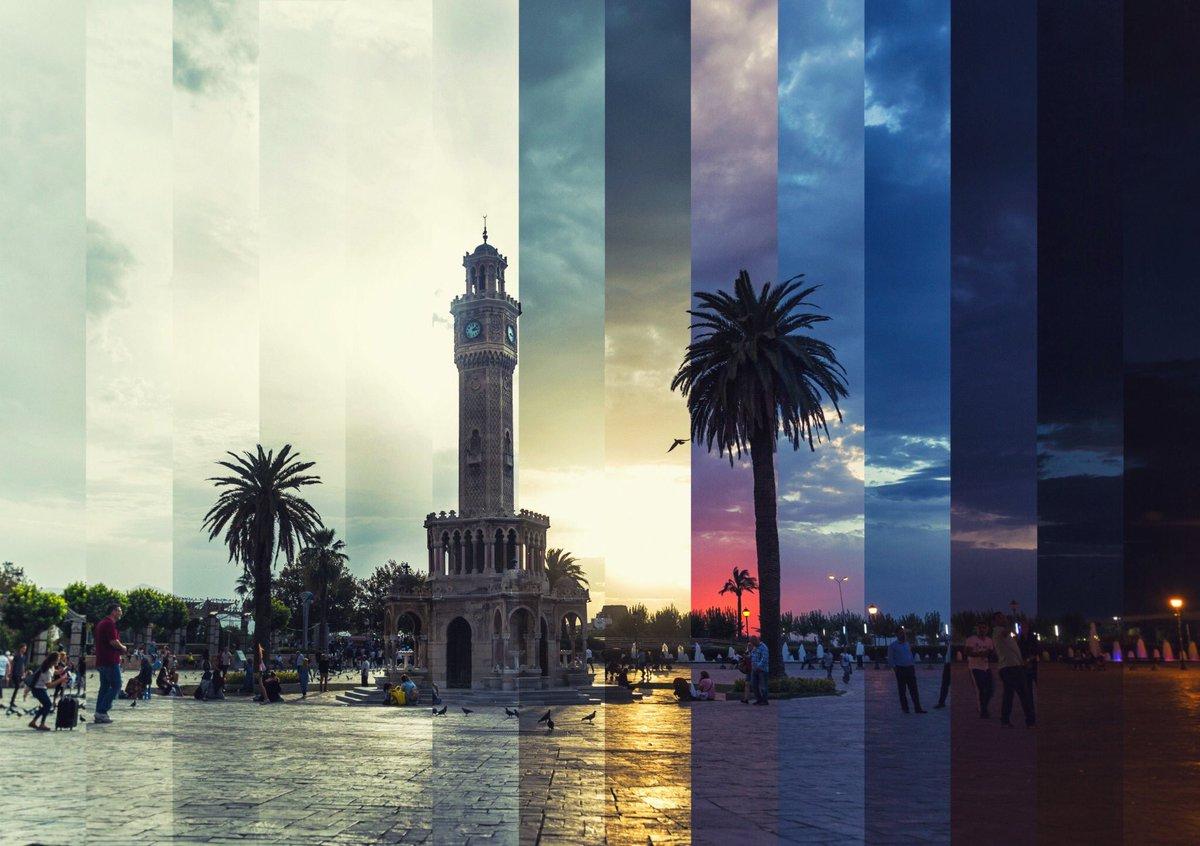 İzmir'in Sembolü Konak Saat Kulesi'nin 24 Saati Tek Karede