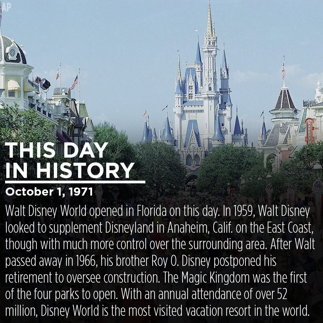 ThisDayInHistory: @WaltDisneyWorld opened 45 years ago today.