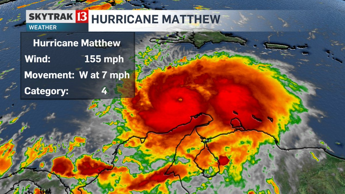 Hurricane Matthew is a Cat 4 now with winds of 155mph. Eventually turning north. @wthrcom