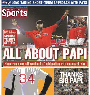 October 1, 2016 Boston Herald sports page