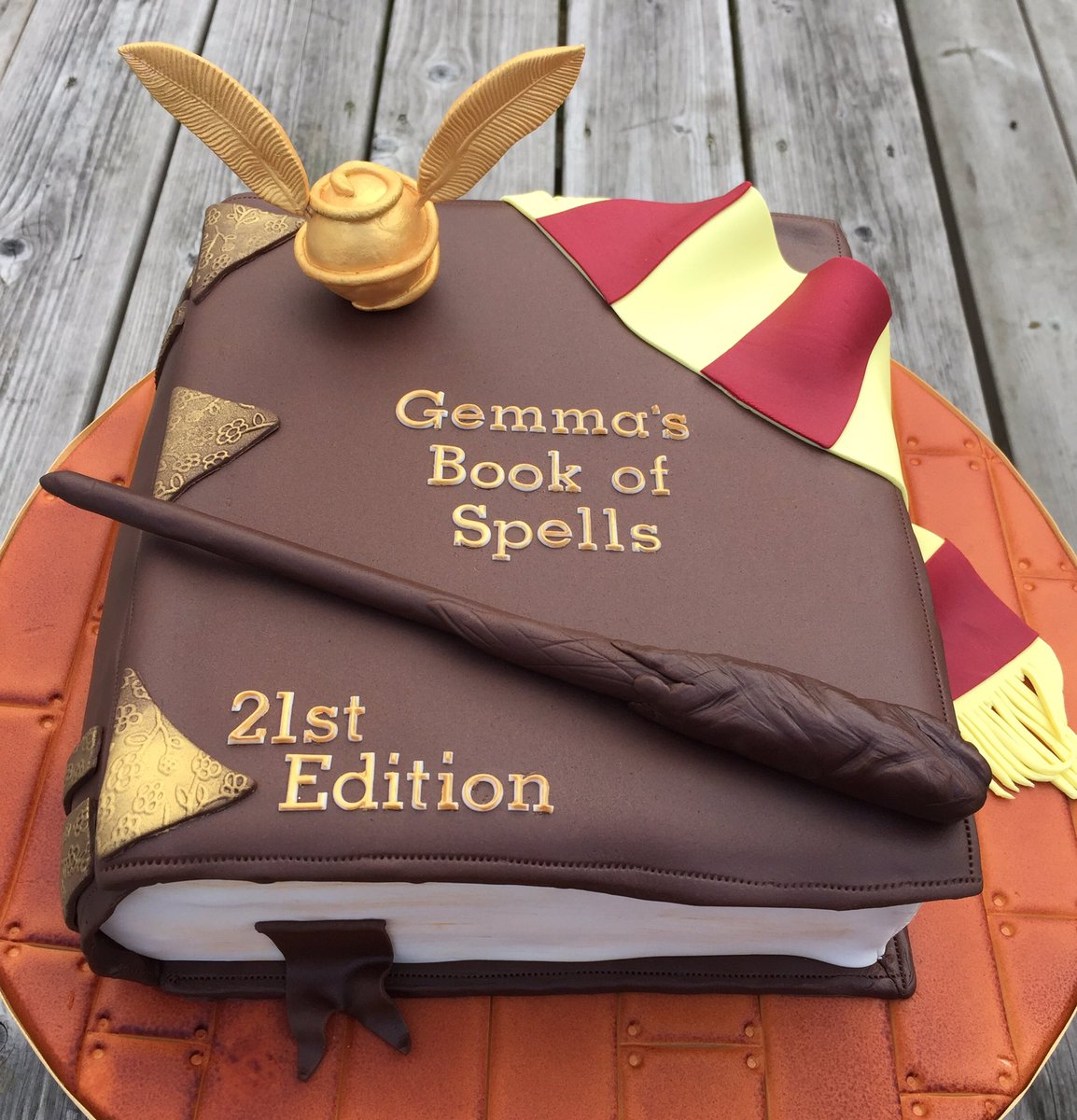 """Tilly Scrumptious on Twitter: """"#HarryPotter themed spell book #cake!  Indulgent #chocolate #cake filled with ganache and buttercream!… """""""