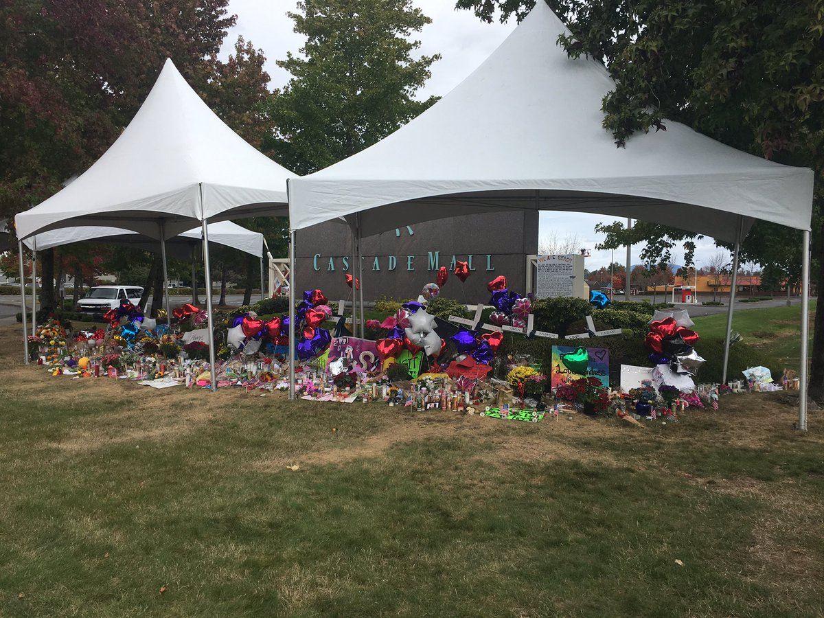 Tents now cover the large memorial at the front entrance to the Cascade Mall in Burlington. komonews
