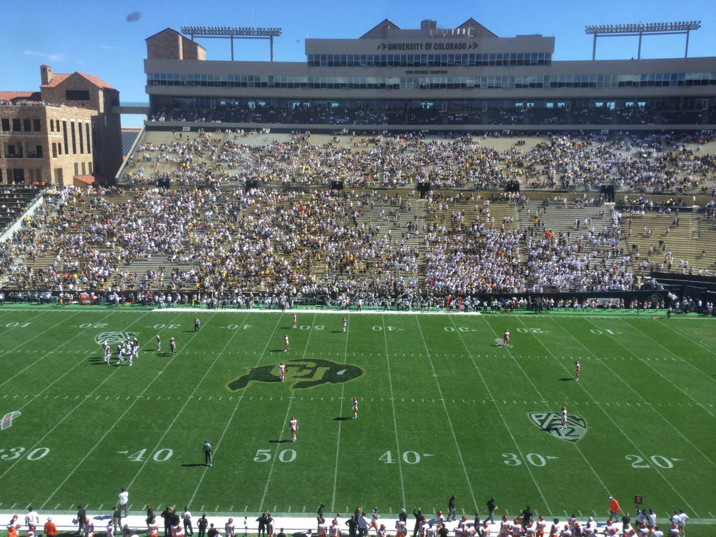 Late arriving crowd in Boulder. CUBuffs and Oregon St about to get underway