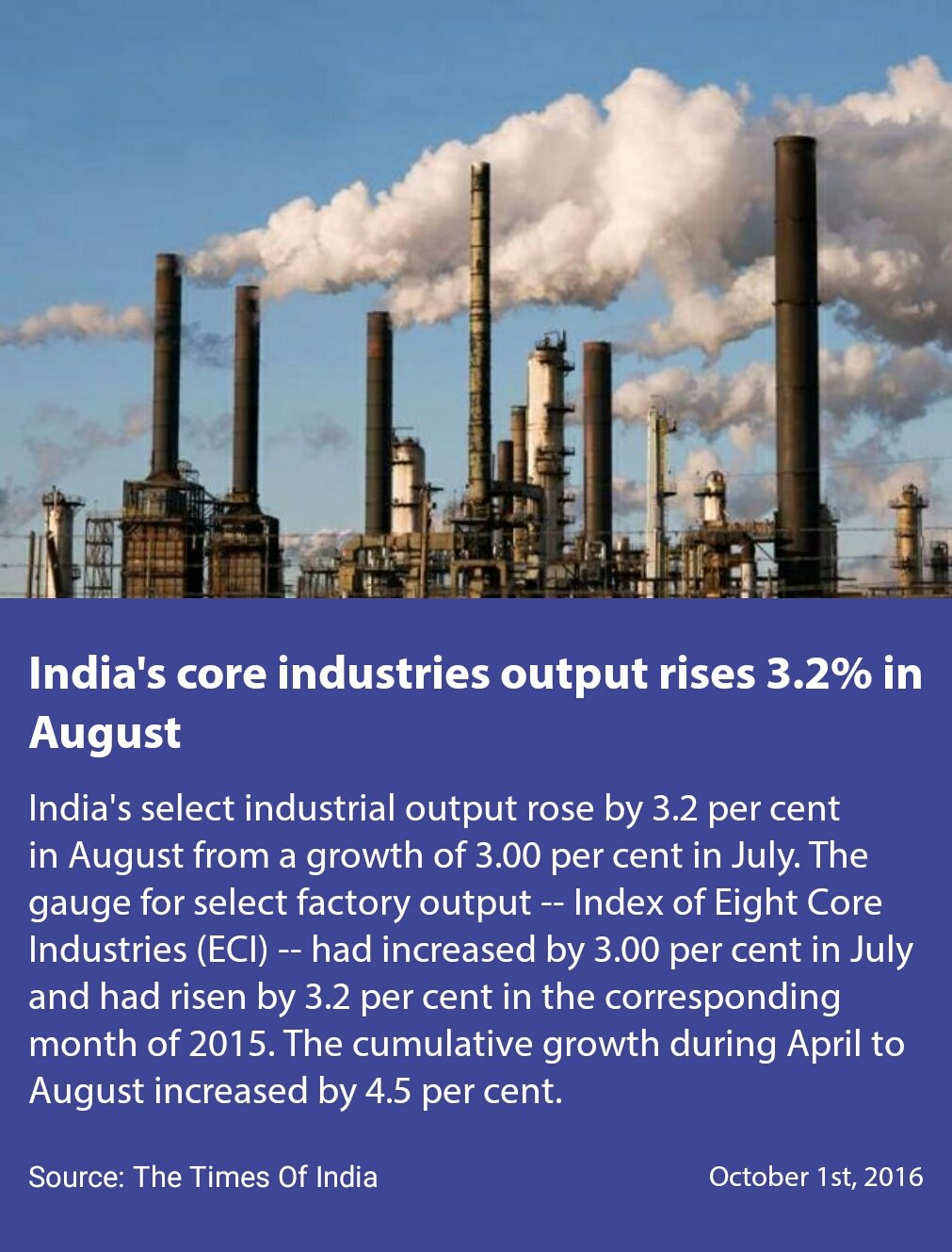 #TransformingIndia  India's core industries output rises 3.2% in August https://t.co/pdLbhDZ6Ol https://t.co/nMKsPZGDIV