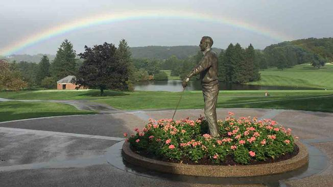 Rainbows shine before and after Arnold Palmer's funeral