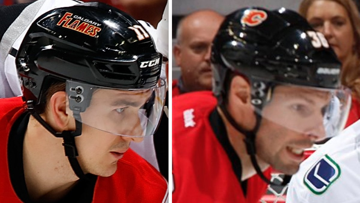 Paul Lukas On Twitter New Helmet Decal For The Calgary Flames Old Version On Left New On Right