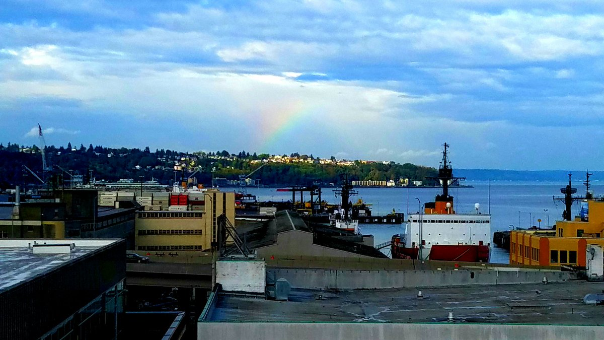 It's not very pronounced, but West Seattle is getting a colorful treat this morning.