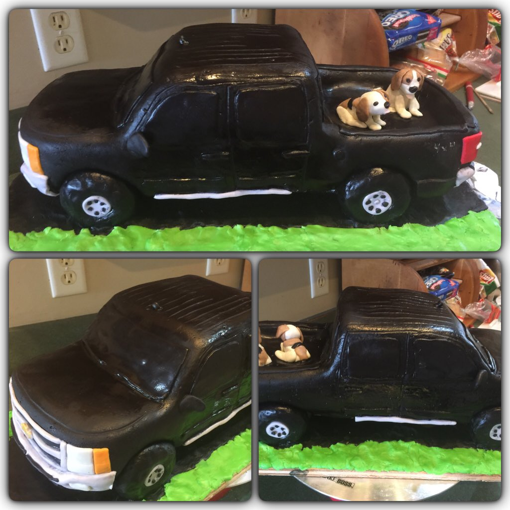 Rosemary Latin On Twitter Chevy Silverado Truck Cake With Two Beagle Dogs Groom Cake