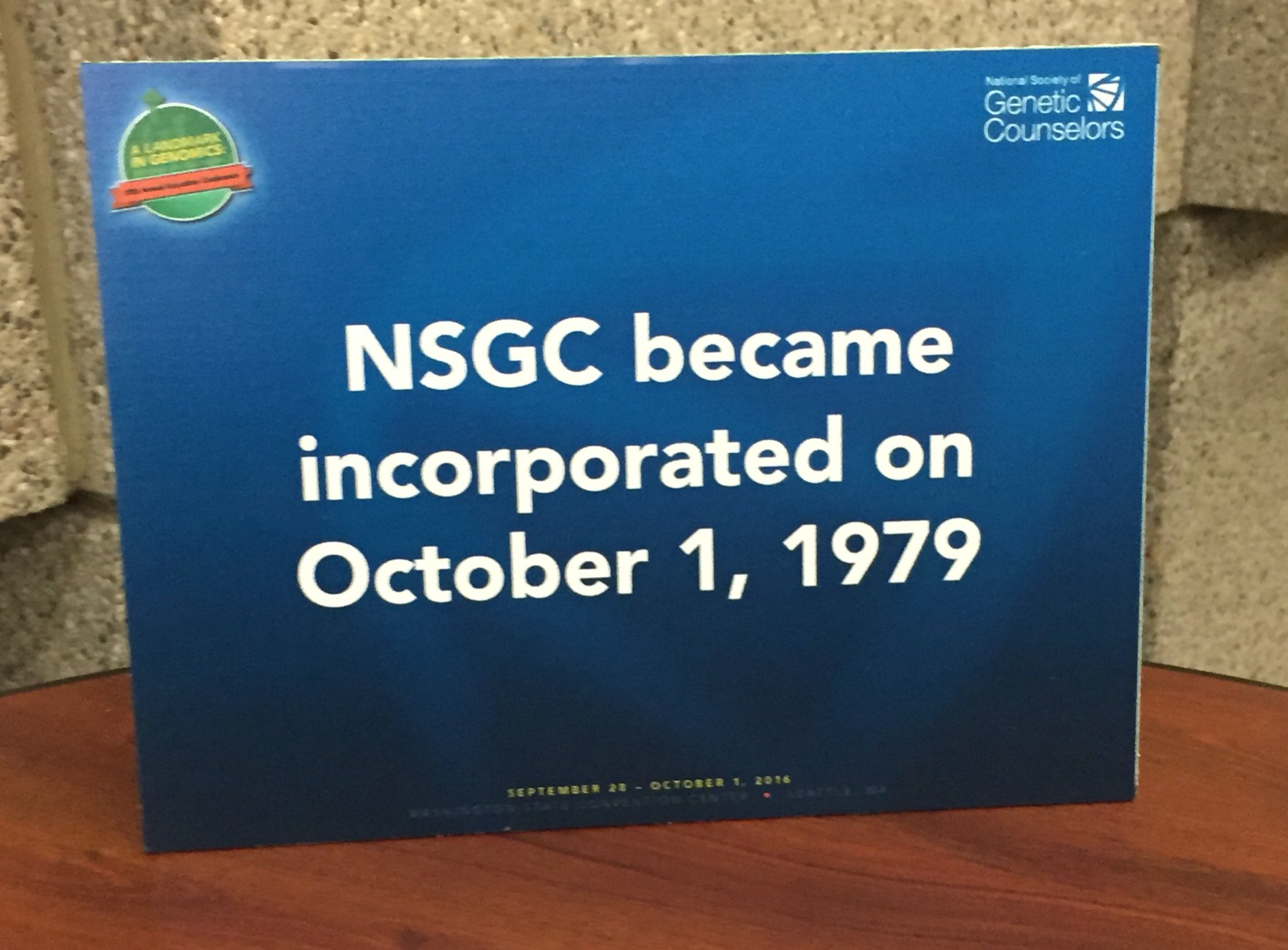*Today* is actually the 35th anniversary of NSGC (@GeneticCouns) becoming incorporated! #HowCoolIsThat?! #NSGC16 :) https://t.co/C0AYbV86vP