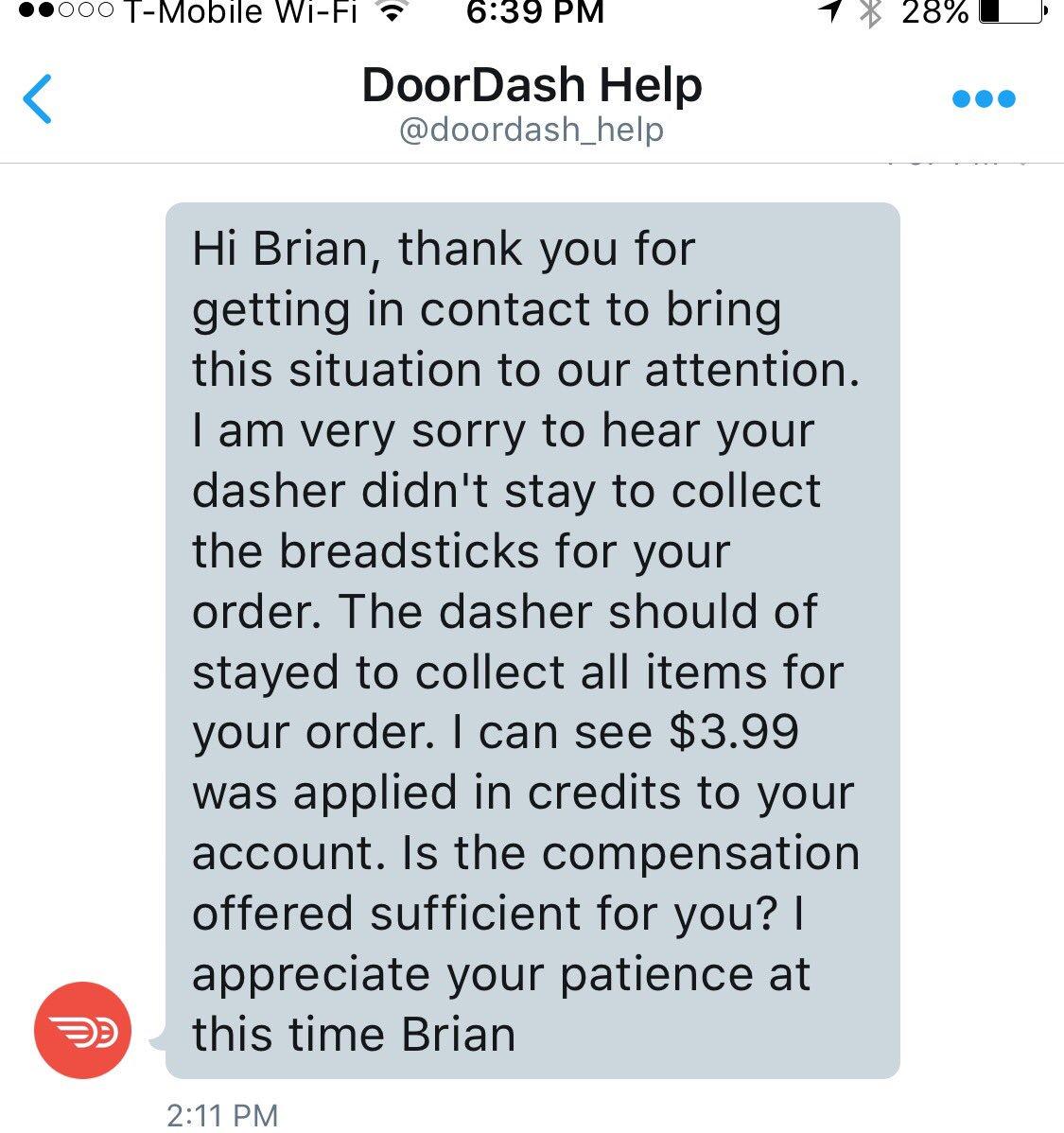 doordash help number