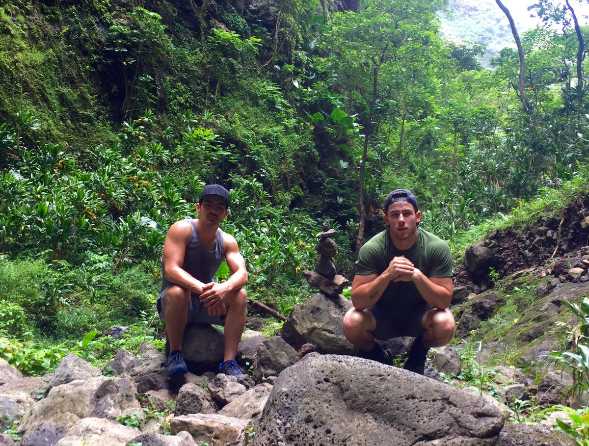 Incredible hike in beautiful Hawaii with @nickjonas he's killing it filming #jumanji ....almost busted my ass 20 ti… https://t.co/QgKZ9dFcRb