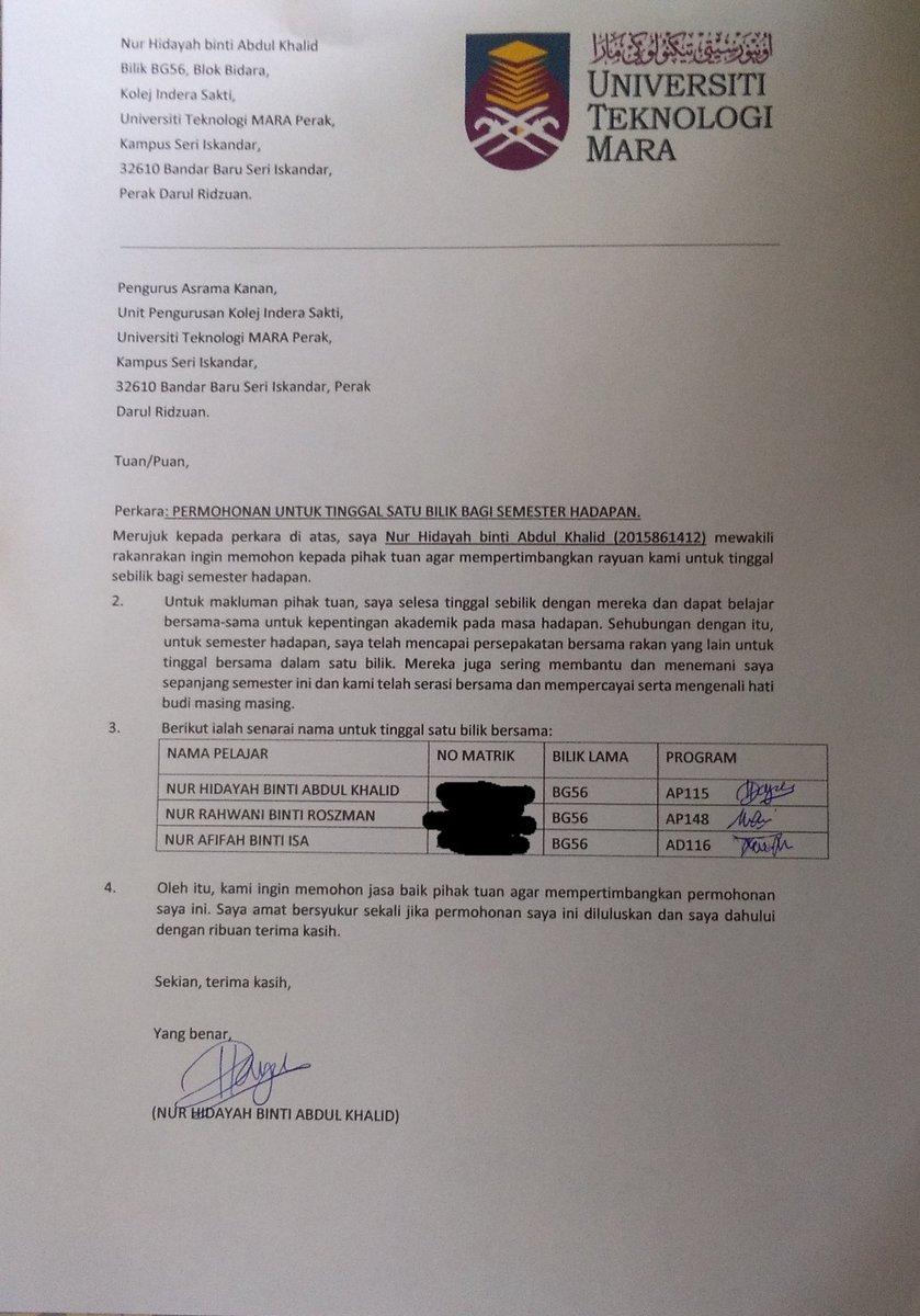 Kolej Indera Sakti On Twitter Infokis Ini Adalah Cth Surat