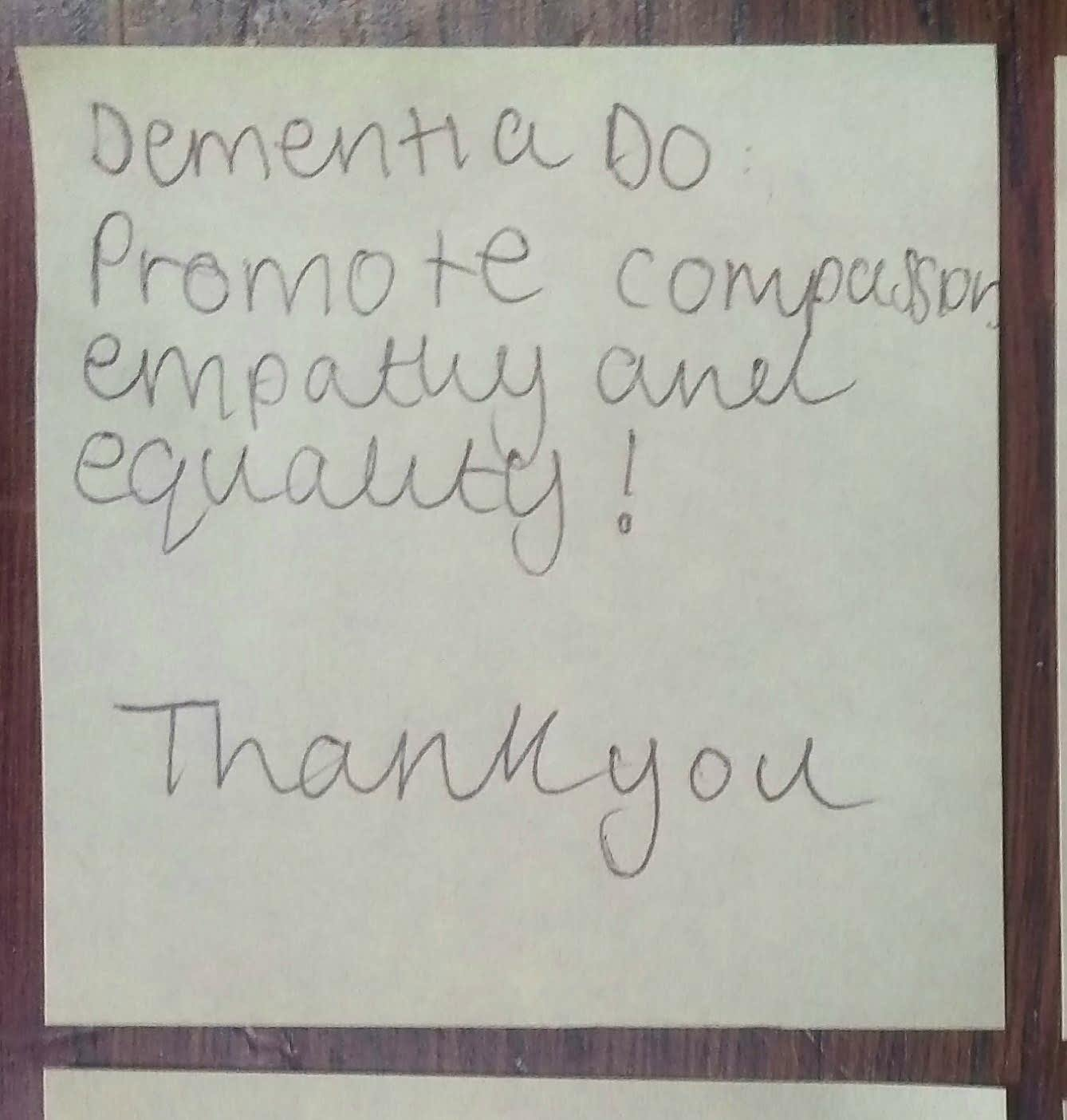 "Today's #dementiado post-it came from @uochester   ""Promote compassion, empathy & equality! Thank you""  No, thank you! 😀  #FabChangeDay https://t.co/3HorcSNXoQ"