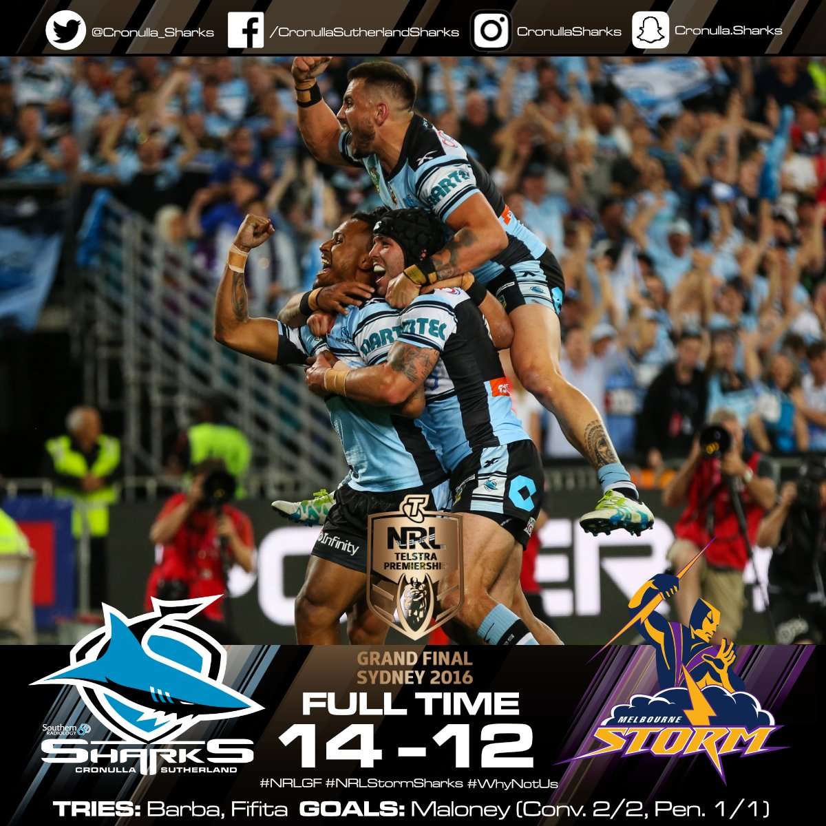 FULL TIME! 49 YEARS IN THE MAKING. UP UP CRONULLA! #NRLGF #WhyNotUs https://t.co/Xjbcx0KxBN