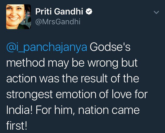 BJP leader Priti Gandhi justifying Nathuram Godse's act of killing the Mahatma. Does @narendramodi agree with her? https://t.co/0J8NyuHQN8