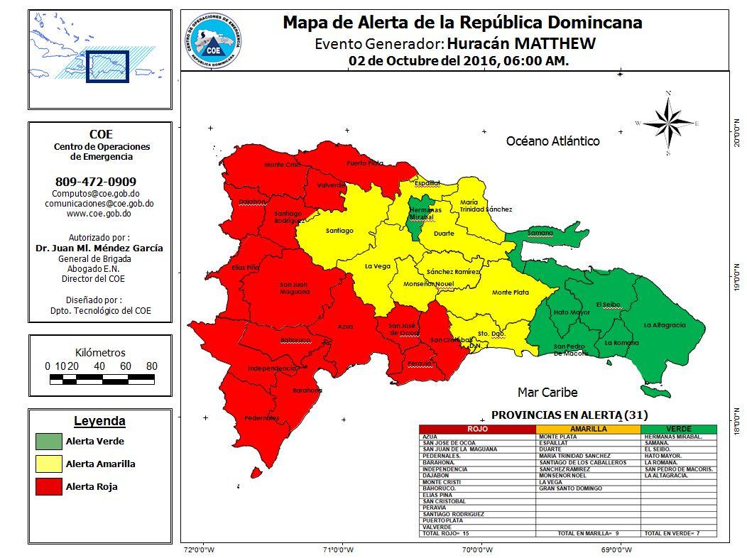Mapa de Alerta República Dominicana actualizado 02-10-2016 hora 6:00 am. https://t.co/6pR9uuu4BA