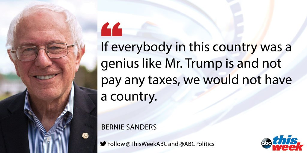 .@BernieSanders calls Trump tax revelation 'outrageous.' #ThisWeek