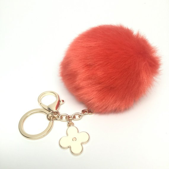 a3e2f01bb387  Faux Rabbit Fur Pom Pom bag Keyring Hot Couture Novelty  keychain pom